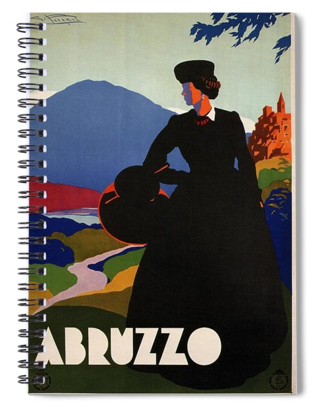Abruzzo, Italy - Girl In Black Gown - Retro Travel Poster - Vintage Poster Spiral Notebook