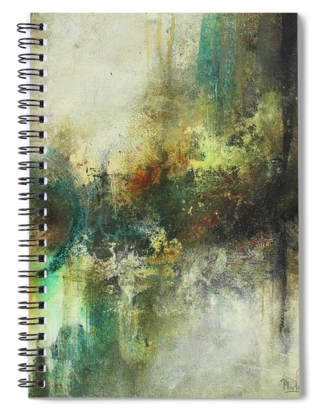 Abstract Art With Blue Green And Warm Tones Spiral Notebook