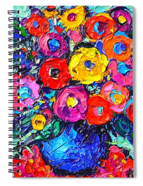 Abstract Colorful Wild Roses Modern Impressionist Palette Knife Oil Painting By Ana Maria Edulescu  Spiral Notebook