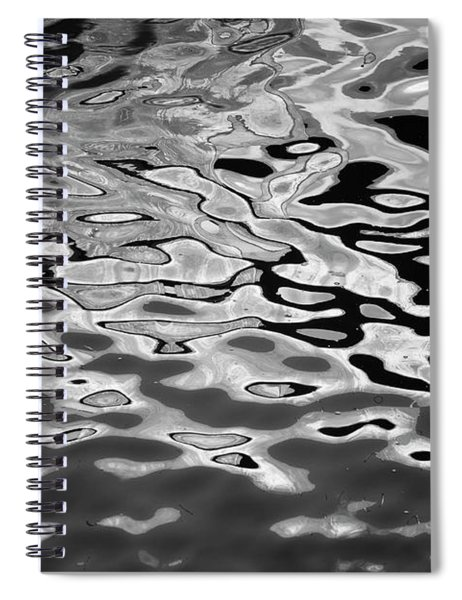 Abstract Dock Reflections I Bw Spiral Notebook