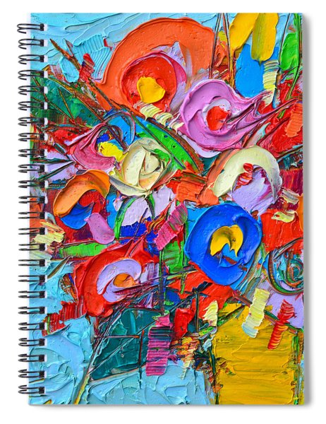 Abstract Flowers Floral Miniature Modern Impressionist Palette Knife Oil Painting Ana Maria Edulescu Spiral Notebook