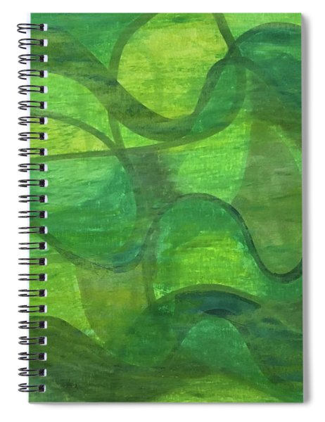 Abstract Green Wave Connection Spiral Notebook