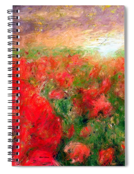 Abstract Landscape Of Red Poppies Spiral Notebook