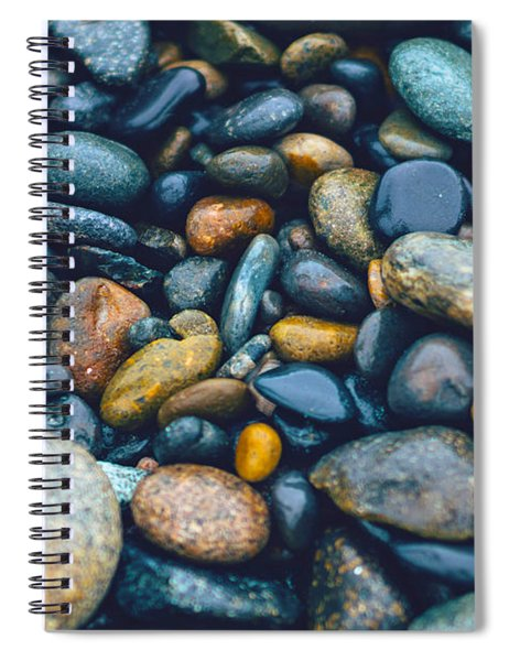Abstract Nature Tropical Beach Pebbles 923 Blue Spiral Notebook