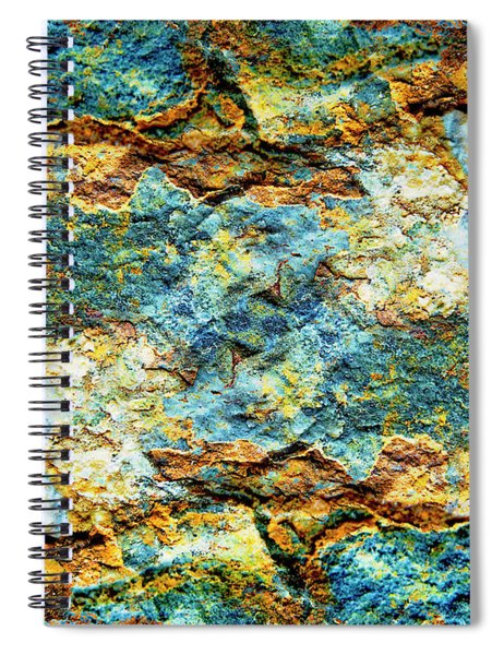 Abstract Nature Tropical Beach Rock Blue Yellow And Orange Macro Photo 472 Spiral Notebook
