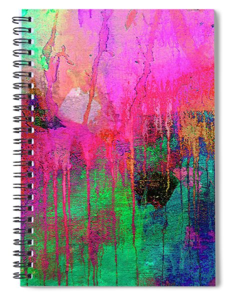 Abstract Painting 621 Pink Green Orange Blue Spiral Notebook