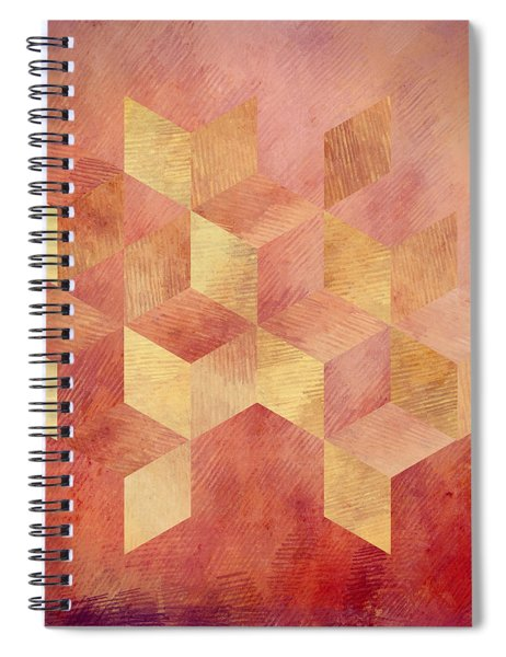 Abstract Red And Gold Geometric Cubes Spiral Notebook