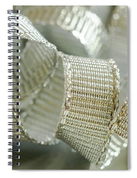 Abstract Silver Ribbons Spiral Notebook