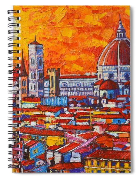 Abstract Sunset Over Duomo In Florence Italy Spiral Notebook
