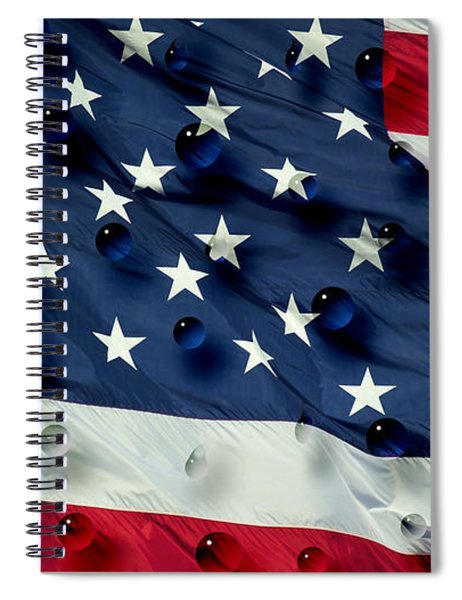 Abstract Water Drops On Usa Flag Spiral Notebook