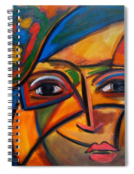 Abstract Woman With Flower Hat Spiral Notebook