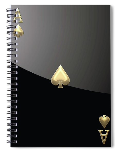 Ace Of Spades In Gold On Black   Spiral Notebook