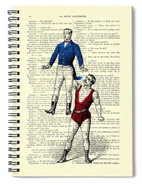Circus Acrobats In Red And Blue Dictionary Art Print Spiral Notebook