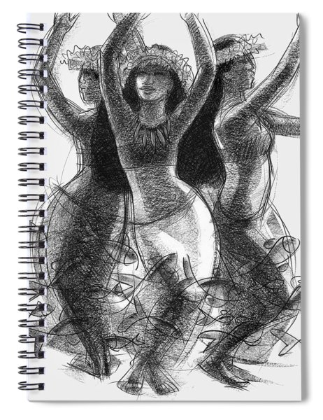 Action Song Dancers With Fish Pareu Spiral Notebook