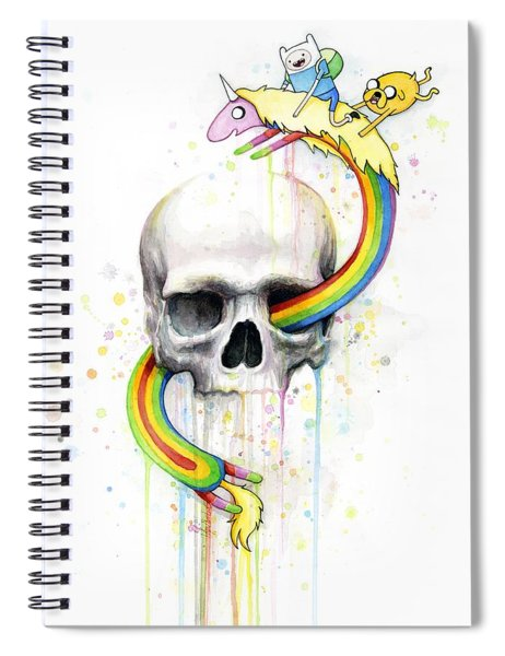 Adventure Time Skull Jake Finn Lady Rainicorn Watercolor Spiral Notebook by Olga Shvartsur