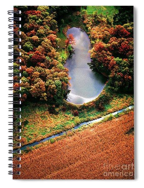 Aerial Farm Big Foot Pond Spiral Notebook