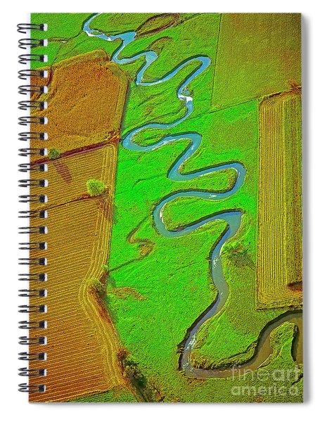 Aerial Farm Stream Pasture Fields Spiral Notebook