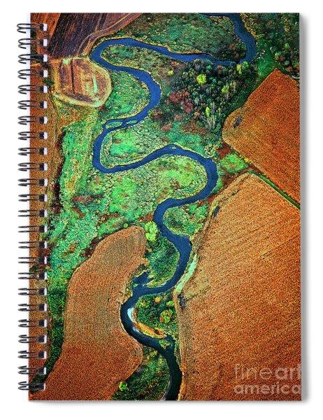 Aerial Farm Wet Lands Stream  Spiral Notebook