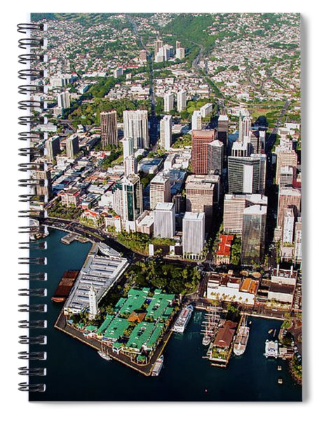 Aerial Panorama - Downtown - City Of Honolulu, Oahu, Hawaii  Spiral Notebook