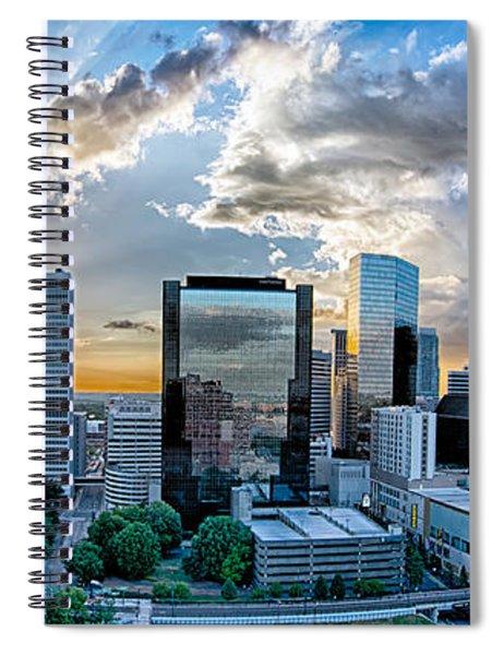 Aerial View Of Charlotte City Skyline At Sunset Spiral Notebook by Alex Grichenko