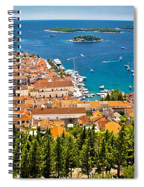Aerial View Of Hvar Rooftops And Harbor Spiral Notebook
