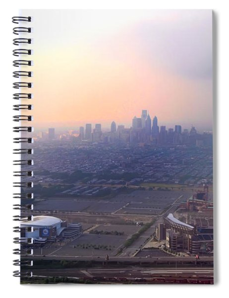 Aerial View - Philadelphia's Stadiums With Cityscape  Spiral Notebook
