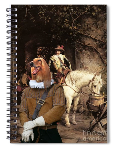 Afghan Hound-at The Tavern Canvas Fine Art Print Spiral Notebook