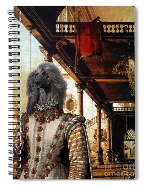 Afghan Hound-capriccio Of Colonade And The Courtyard Of A Palace Canvas Fine Art Print Spiral Notebook