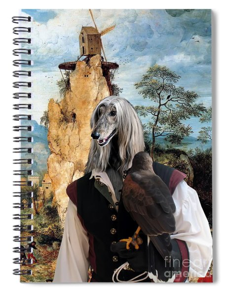 Afghan Hound-falconer And Windmill Canvas Fine Art Print Spiral Notebook