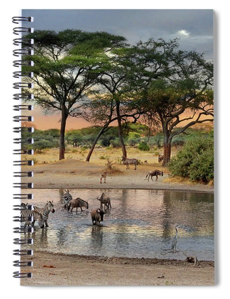 African Safari Wildlife At The Waterhole Spiral Notebook