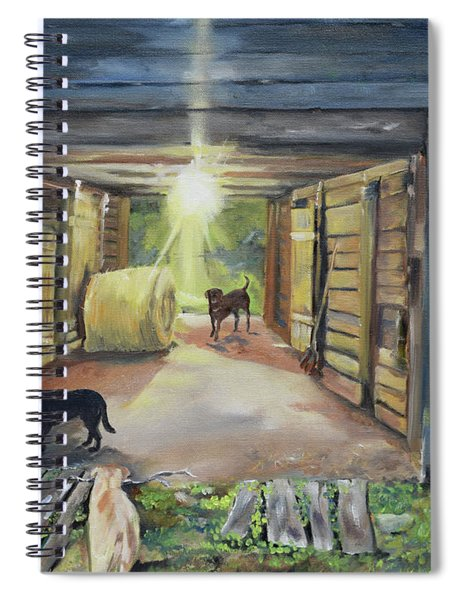 After Hours In Pa's Barn - Barn Lights - Labs Spiral Notebook by Jan Dappen