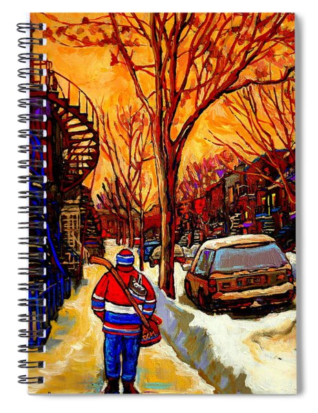After The Hockey Game A Winter Walk At Sundown Montreal City Scene Painting  By Carole Spandau Spiral Notebook