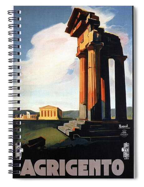 Agrigento, Sicily, Italy - Retro Travel Poster - Vintage Poster Spiral Notebook