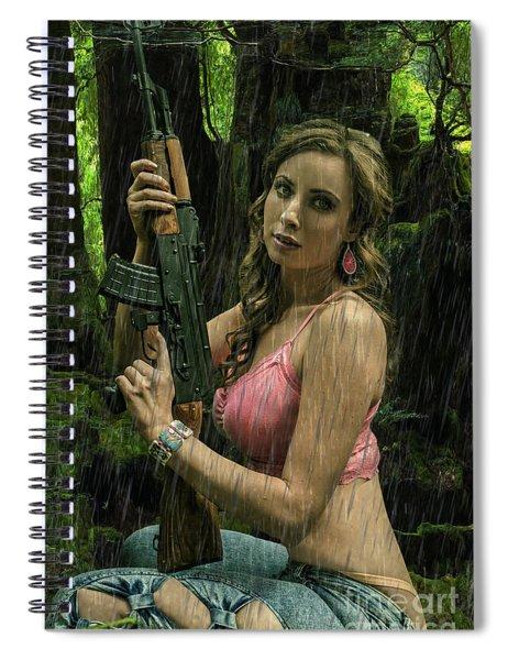 Ak47 In The Rain Spiral Notebook