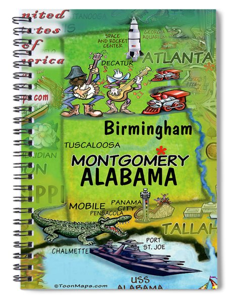 Alabama Fun Map Spiral Notebook