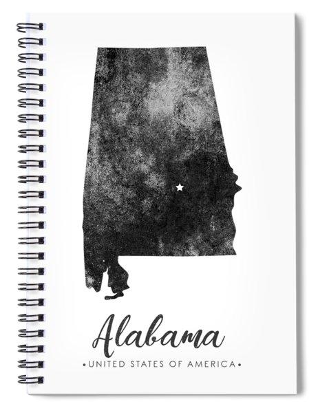 Alabama State Map Art - Grunge Silhouette Spiral Notebook