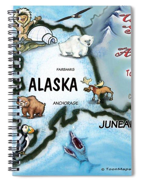 Alaska Fun Map Spiral Notebook