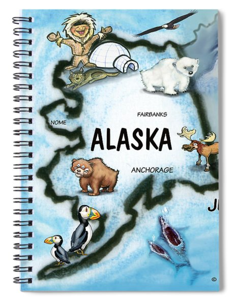 Alaska Fun Map Spiral Notebook