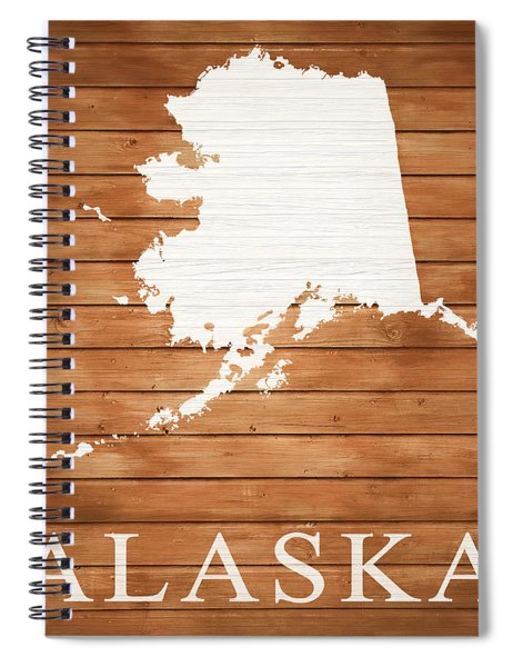 Alaska Rustic Map On Wood Spiral Notebook