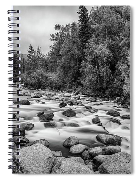 Alaskan Stream In Black And White Spiral Notebook