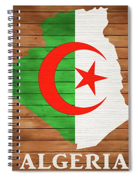 Algeria Rustic Map On Wood Spiral Notebook