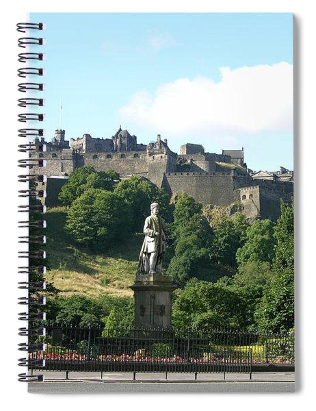 Allan Ramsay Statue And Edinburgh Castle Spiral Notebook