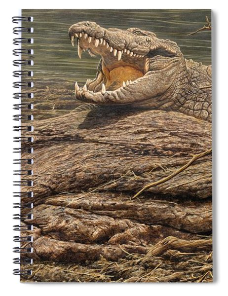 Spiral Notebook featuring the painting Alligator by Alan M Hunt
