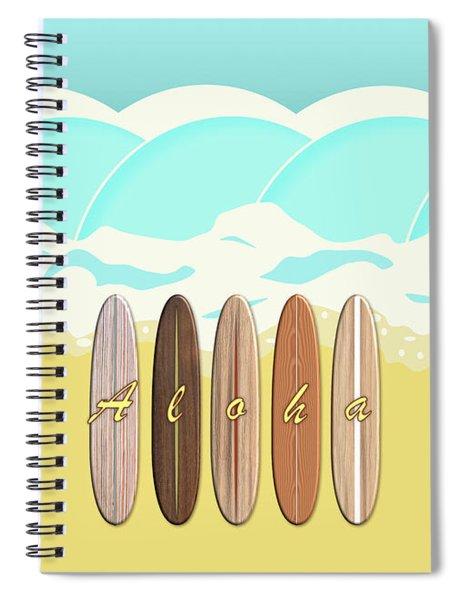 Aloha Surf Wave Beach Spiral Notebook