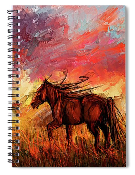 Alone In The Range - Horse At Sunset Spiral Notebook