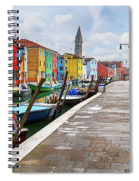 Along The Canal In Burano Island Spiral Notebook