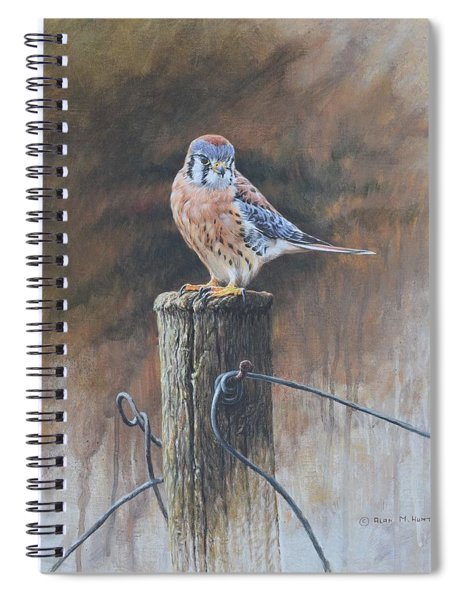 Spiral Notebook featuring the painting American Kestrel by Alan M Hunt