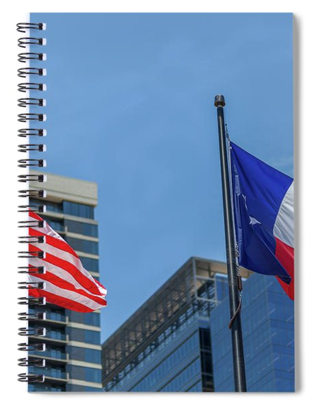 American And Texas Flag On Top Of The Pole Spiral Notebook