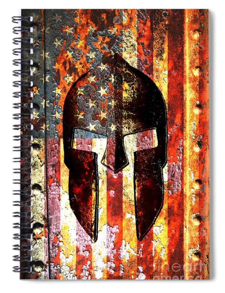 American Flag And Spartan Helmet On Rusted Metal Door - Molon Labe Spiral Notebook