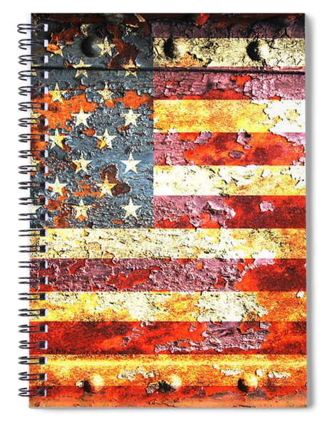 American Flag On Rusted Riveted Metal Door Spiral Notebook
